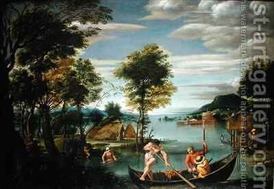 Landscape with Boats by Domenichino (Domenico Zampieri) - Reproduction Oil Painting