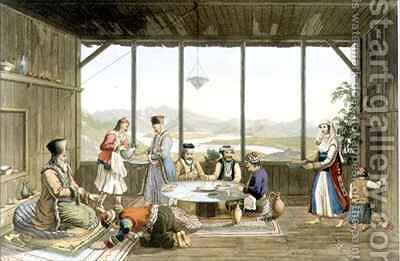Dinner held at Delphi in honour of the painter by the elder of the village of Chryso by (after) Dodwell, Edward - Reproduction Oil Painting