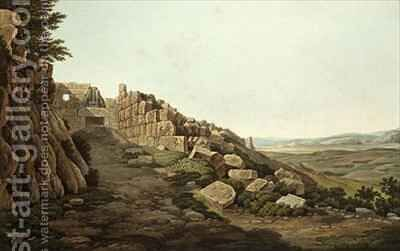 View of the Lion Gate of the Acropolis by (after) Dodwell, Edward - Reproduction Oil Painting