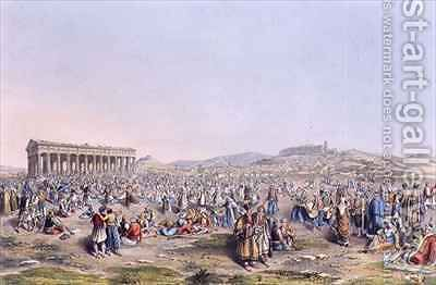 Festival at Athens by (after) Dodwell, Edward - Reproduction Oil Painting