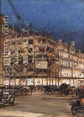 Construction of the New Building for Bourne and Hollingsworth by Charles Edward Dixon - Reproduction Oil Painting
