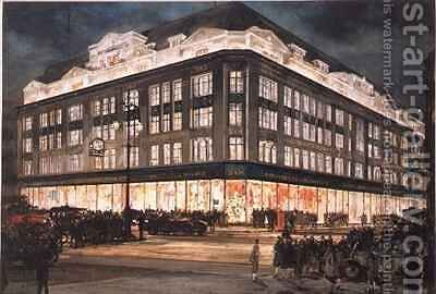 The New Building Bourne and Hollingsworth Oxford Street by Charles Edward Dixon - Reproduction Oil Painting