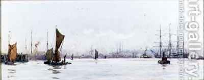 Looking West from Tilbury by Charles Edward Dixon - Reproduction Oil Painting