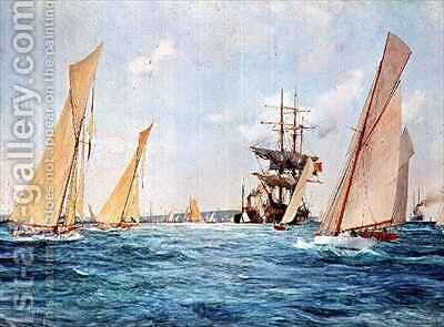 A Yacht Race by Charles Edward Dixon - Reproduction Oil Painting