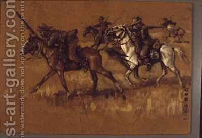 Mounted Boers in Action by C. Dixon - Reproduction Oil Painting