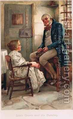 Little Dorrit and the Turnkey by Arthur A. Dixon - Reproduction Oil Painting