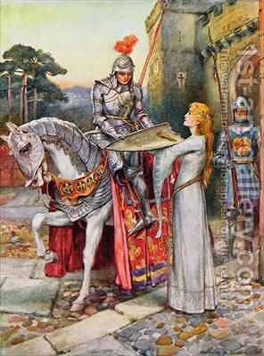 Sir Lancelot Gives his Shield into Elaines Keeping by Arthur A. Dixon - Reproduction Oil Painting