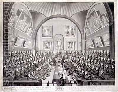 The Lord Mayor Aldermen and Common Council in the Council Chamber Guildhall London by (after) Dighton, Richard - Reproduction Oil Painting