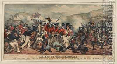 Defeat of Ashantees by the British forces under the command of Colonel Sutherland by Denis Dighton - Reproduction Oil Painting