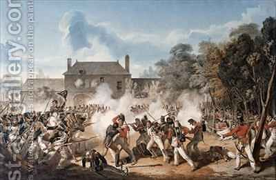 Defence of the Chateau de Hougoumont by the flank Company by Denis Dighton - Reproduction Oil Painting