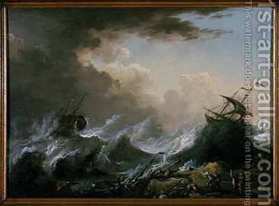 Sea storm and shipwreck by Christian Wilhelm Ernst Dietrich - Reproduction Oil Painting