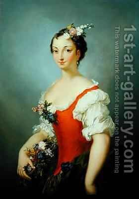 Portrait of a Lady Holding Flowers by Christian Wilhelm Ernst Dietrich - Reproduction Oil Painting