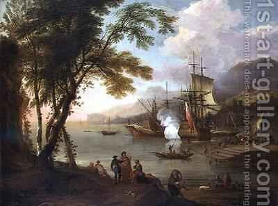 A capriccio of a Mediterranean harbour with shipping merchants and dockhands by Adriaen Van Diest - Reproduction Oil Painting