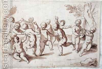 A group of dancing putti by Abraham Jansz. van Diepenbeeck - Reproduction Oil Painting
