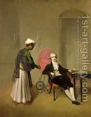 Portrait of a Gentleman possibly William Hickey and an Indian Servant by Arthur William Devis - Reproduction Oil Painting