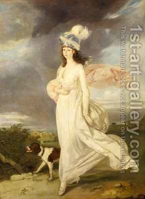 Windswept girl in a turban walking with a dog by Arthur William Devis - Reproduction Oil Painting