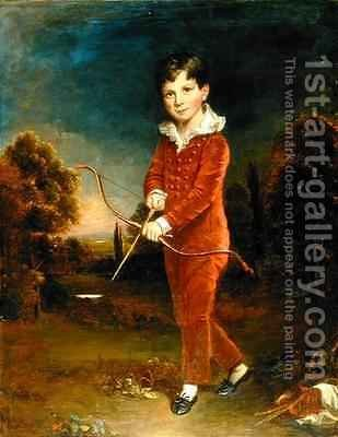 Portrait of a Young Boy in a Red Suit Holding a Bow and Arrow by Arthur William Devis - Reproduction Oil Painting