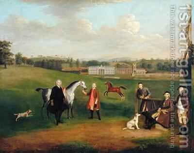 Leak Okeover Rev John Allen and Captain Chester at Okeover Hall Staffordshire by Arthur Devis - Reproduction Oil Painting