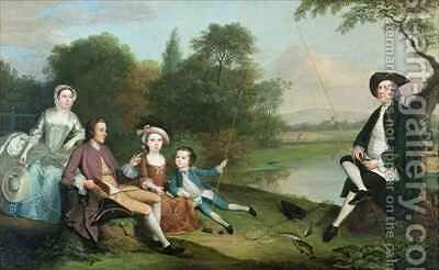 A family of Anglers by Arthur Devis - Reproduction Oil Painting