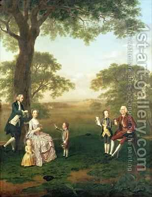The Clavey Family in their garden at Hampstead by Arthur Devis - Reproduction Oil Painting