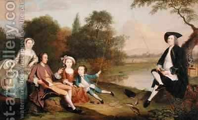 Portrait of a Family traditionally known as the Swaine family of Fencroft Cambridgeshire by Arthur Devis - Reproduction Oil Painting