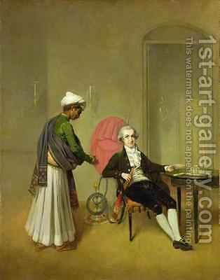 A Gentleman possibly William Hickey and his Indian Servant by Arthur Devis - Reproduction Oil Painting