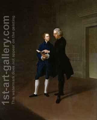 Portrait of Assheton Curzon late Viscount Curzon with tutor Dr Mather by Arthur Devis - Reproduction Oil Painting