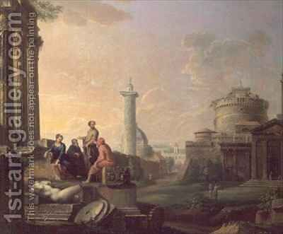 An Architectural Capriccio by Arthur Devis - Reproduction Oil Painting