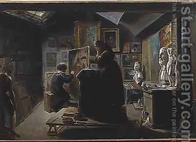 In the Artists Studio by Achille-Jacques-Jean-Marie Deveria - Reproduction Oil Painting