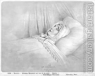 Madame Recamier 1777-1849 on her deathbed by Achille-Jacques-Jean-Marie Deveria - Reproduction Oil Painting