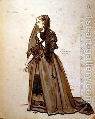 Costume design for the role of Dona Elvire in an 1847 production of Don Juan by Achille-Jacques-Jean-Marie Deveria - Reproduction Oil Painting