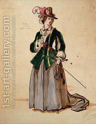 Costume design for Dona Elvire in an 1847 production of Don Juan by Achille-Jacques-Jean-Marie Deveria - Reproduction Oil Painting