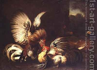 Cocks Fighting in a Farmyard by Alexandre-Francois Desportes - Reproduction Oil Painting