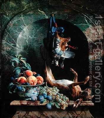 Still Life with Dead Game in a Marble Niche by Alexandre-Francois Desportes - Reproduction Oil Painting