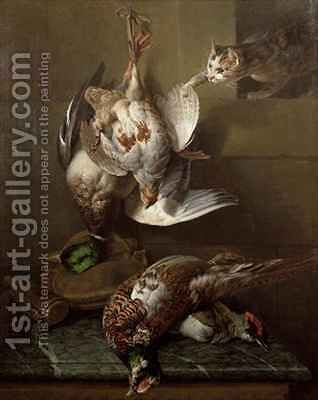 A Cat Attacking Dead Game by Alexandre-Francois Desportes - Reproduction Oil Painting