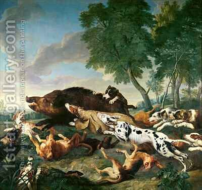 Wild Boar Hunt by Alexandre-Francois Desportes - Reproduction Oil Painting