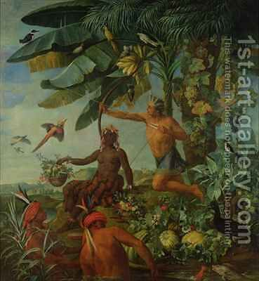 The Indian Hunter and Fisherman by Alexandre-Francois Desportes - Reproduction Oil Painting