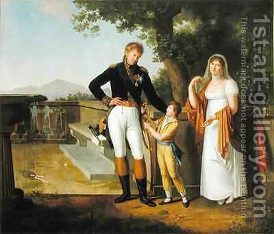 General Rossetti 1776-1840 Commandant of Naples and his Family by Guillaume Descamps - Reproduction Oil Painting