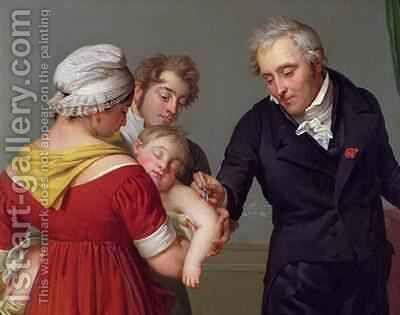 Baron Jean Louis Alibert 1768-1837 performing the vaccination against smallpox in the Chateau of Lian by Constant Joseph Desbordes - Reproduction Oil Painting
