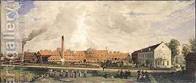 View of a Sugar Factory by Charles Paul Etienne Desavary - Reproduction Oil Painting