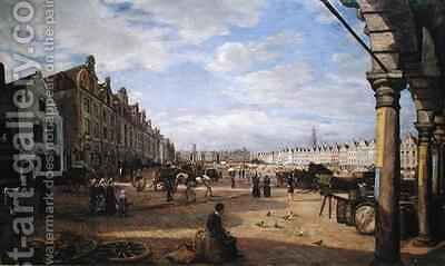 The Grande Place dArras on Market Day by Charles Paul Etienne Desavary - Reproduction Oil Painting