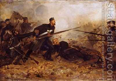 Private John McDermond 1832-68 at the battle of Inkerman on 5th November 1854 by Chevalier Louis-William Desanges - Reproduction Oil Painting