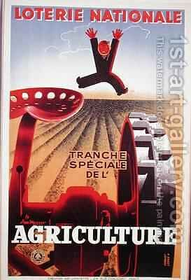 Poster advertising a French National Lottery special issue to help agriculture by Derouet Lesacq - Reproduction Oil Painting