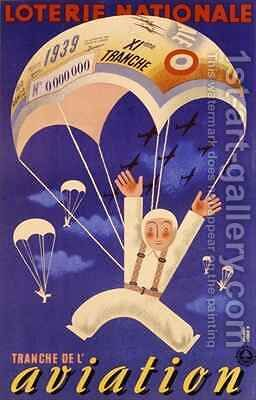 Poster advertising the French National Lottery special issue to help the Air Force by Derouet Lesacq - Reproduction Oil Painting