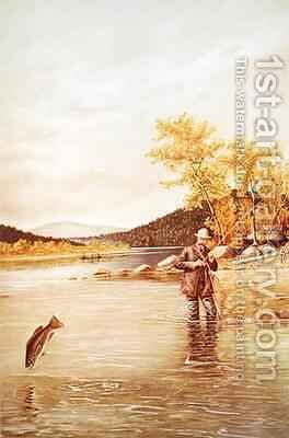 Trout Fisherman by (after) Denton - Reproduction Oil Painting
