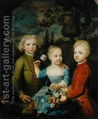 The Children of Councillor Barthold Heinrich Brockes 1680-1747 2 by Balthasar Denner - Reproduction Oil Painting