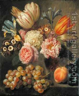 Flower Study by Balthasar Denner - Reproduction Oil Painting