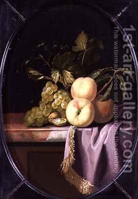 Peaches Grapes and Walnuts on a Draped Ledge by Isaak Denies - Reproduction Oil Painting