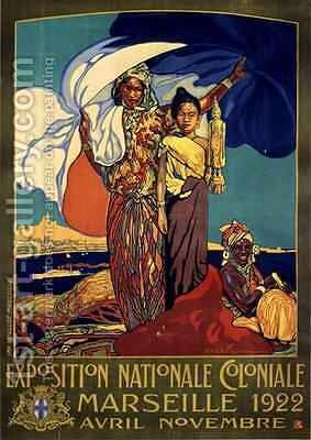 Poster advertising the Exposition Nationale Coloniale by Davide Dellepiane - Reproduction Oil Painting