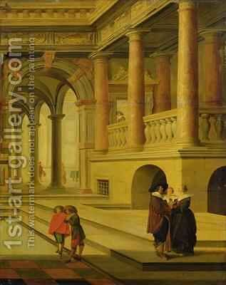 Palace Courtyard by Dirck Van Delen - Reproduction Oil Painting
